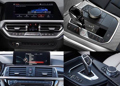 新型のセンターパネル(左上)とシフトレバー周り(右上)(いずれも欧州仕様)。先代3シリーズ(下段)に比べると質感の向上が著しい(写真:BMW)