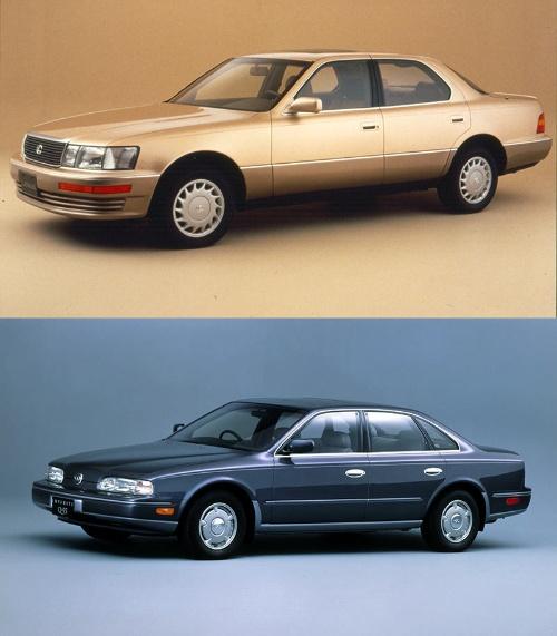 トヨタ、日産が新たなプレミアムブランドの最高級車として導入した初代「Lexus LS400」(上、米国仕様)と「Infiniti Q45」(下)(写真:トヨタ自動車、日産自動車)