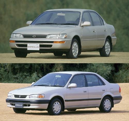 「ミニセルシオ」と呼ばれた7代目「カローラ」と、コスト削減を徹底した8代目「カローラ」(写真:トヨタ自動車)
