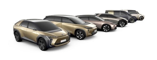 トヨタがEVに関する戦略の発表会で公開した今後商品化を予定するEVのモックアップ(写真:トヨタ自動車)