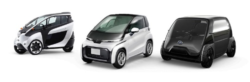 トヨタの「超小型EV」。すでにカーシェアリングなどに使われている「i-ROAD」(左)、商品化予定モデル(中央)、ビジネス向けコンセプトモデル(右)(写真:トヨタ自動車)