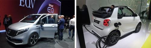 2020年から発売する新型EV「EQC」は専用のプラットフォームを採用するが、今回のショーでは既存の車種をベースにしたミニバンのEV「EQV」(左)や、小型2人乗り車のEV「smart EQ fortwo」(右)を出展した。