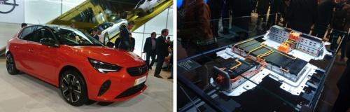 ドイツ・オペルが発表した新型EV「Corsa-e」(左)と搭載する電池(右)。電池は前後の座席の下に配置する。