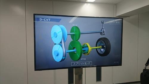 新型CVT「D-CVT」の駆動原理。低速では金属ベルトのみ、中高速ではベルトとギアの両方で駆動力を伝達する。