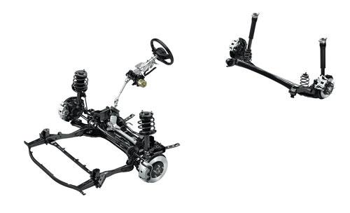 マツダ3のサスペンション。後輪にはシンプルなトーションビーム式を採用した。サスペンションアームは2点で車体に取り付けられている。(写真:マツダ)