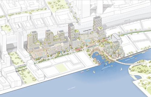 Sidewalk Labsがカナダ・トロントで進める港湾地域の再開発計画のイメージ(イラスト:Sidewalk Labs)