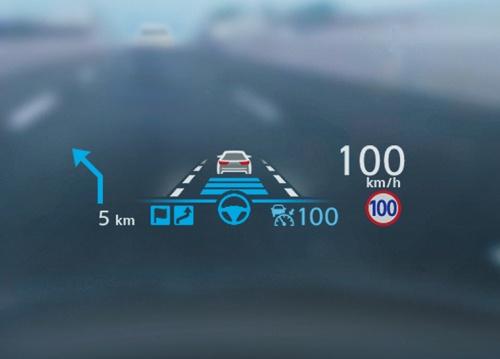プロパイロット2.0の動作状況を示す表示(ヘッドアップディスプレー)。表示が青のときは手放し運転が可能(写真:日産自動車)