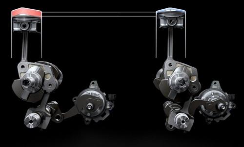 日産の可変圧縮比エンジン「VCターボ」の構造。リンク機構を使って上死点の位置をずらし、圧縮比を運転条件に応じて8:1(左側)から14:1(右側)まで連続的に変化させる(写真:日産自動車)
