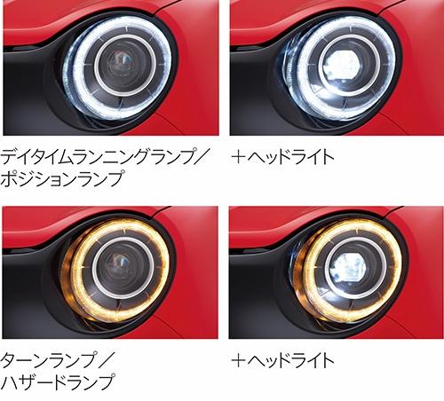 新型N-ONEのヘッドランプ。デイタイムランニングランプとウインカーはどちらもリング状に光る(写真:ホンダ)