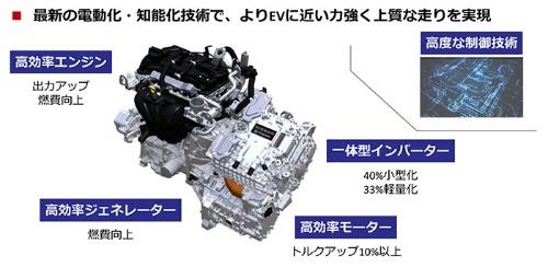 新型ノートは第2世代の「e-POWER」を採用した。エンジン、モーターの出力を高めたほか、インバーターを大幅に小型・軽量化した(資料:日産自動車)