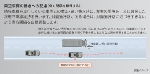 大型車両の隣を走行する場合には、横方向の間隔を空ける(資料:トヨタ自動車)