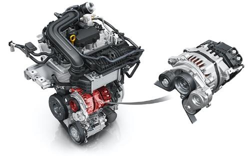 48Vシステムは、BSGと呼ぶ装置を従来のジェネレーターの代わりに搭載するだけのシンプルなシステムだ。写真は、同じエンジンを積むアウディA3のもの(写真:アウディ)