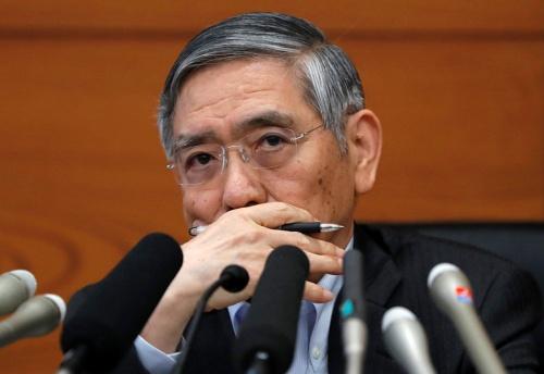 日銀の黒田東彦総裁。景気後退時に、日銀に残された政策はほとんどない(写真:ロイター/アフロ)