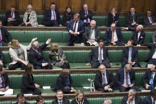 欧州連合(EU)離脱問題について議論する英議会(写真:JESSICA TAYLOR/UK Parliament/AFP/アフロ)