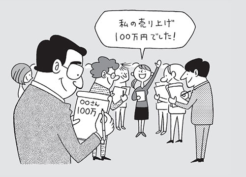 古田土会計では、毎月全従業員を集めての売り上げ発表会を開催している(イラスト=高田真弓)