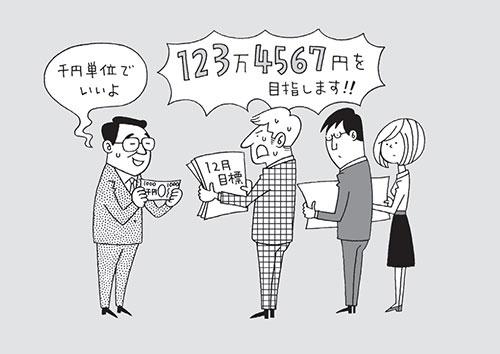 古田土会計では、担当者ごとに年間、月間の販売計画を立てている。月間計画は年間計画を12等分せず、月々の状況に応じた目標を千円単位で立ててもらう(イラスト=高田真弓)