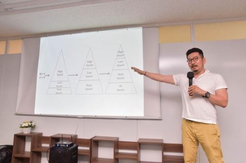田所氏は、プラットフォームにサービスを提供する「商品の出し手」を手厚くもてなす「鬼ハイタッチ」が成功には大事と話す