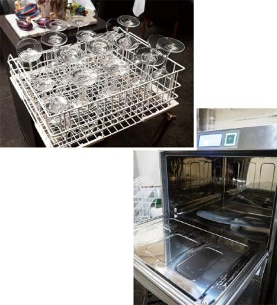 毎日延べ15時間を投じていた食器類の洗浄と乾燥は、洗浄機(右)の導入とラックの増設(上)でわずか20分になった。開店前の店内には、乾燥中のラックがところ狭しと並ぶ(写真:堀 勝志古)