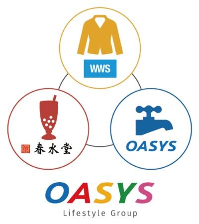 オアシスライフスタイルグループの3事業。(1)アパレル業(スーツに見える作業着、WWS<ワークウェアスーツ>の開発販売)(2)水道工事(建物の給水管周りの検査、メンテナンス、改修)(3)飲食業(台湾カフェ「春水堂」の経営)