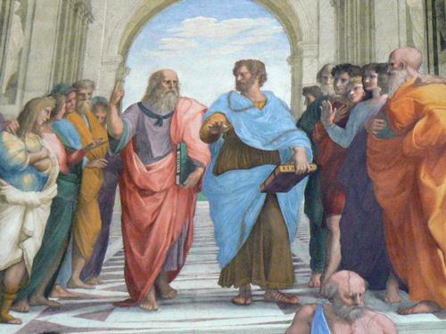 バチカン宮殿に描かれたラファエロの「アテネの学堂」。プラトンやアリストテレスなどギリシャの哲学者や科学者が描かれている