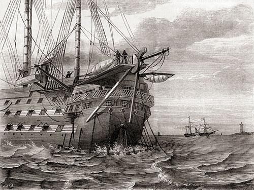 大西洋横断海底ケーブルを敷設する英船(1858)(写真=Universal History Archive / Getty Images)