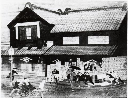 明治初め頃のつまみ店(だな)。日本橋のたもとで江戸初期から現在まで400年以上続いてきた