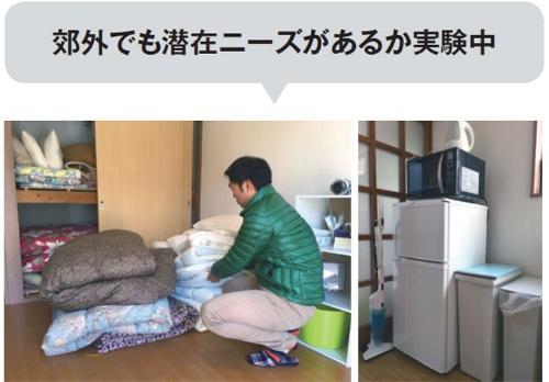 掃除は自分で行い、寝具や備品は自宅で余ったものを活用。冷蔵庫と電子レンジは (写真右)、地元の人から中古品を安く買えるサイトを使い、各々1000円で調達