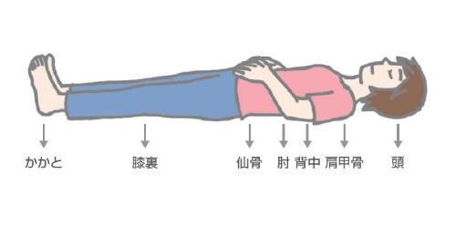 (6)頭、肩甲骨、肘、背中、仙骨、ひざの裏、かかとの7点に体重がかかっていることを意識する。7点が浮いたりずれたりしないように注意しながら、手を乗せている下腹部を膨らませるようにして鼻からゆっくり息を吸う。(7)7点がずれないように注意して、吸うときの2倍の時間をかけて口からゆっくり息を吐く。(6)と(7)を10回繰り返す。