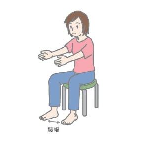 (2)腕を前に出し、軽く「前へならえ」の形を取る。