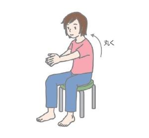 (3)背中をゆるめ、自然に丸くなったことを確認してから両手を合わせる。